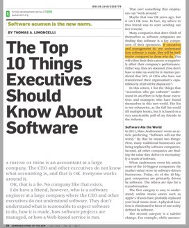 What Executives Should Know about Software Analytics